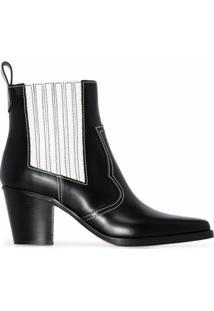 Ganni Ankle Boot Western Com Salto 60Mm - Preto