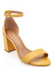 Sandalia Salto Bloco Lisa Amarelo