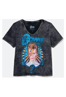 Blusa Manga Curta Em Algodão Marmorizada Com Estampa Frontal David Bowie Curve & Plus Size | Ashua Curve E Plus Size | Preto | G