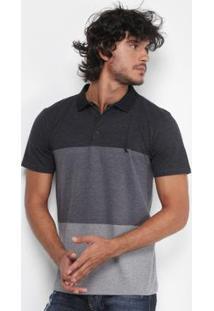 Camisa Polo Reserva Piquet Color Boradado Logo Masculina - Masculino-Cinza
