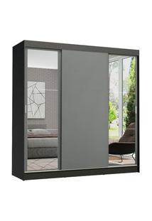 Guarda-Roupa Casal Madesa Reno 3 Portas De Correr Com Espelhos Preto/Cinza Cinza