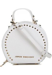 Bolsa Couro Jorge Bischoff Mini Bag Redonda Snake Light Feminina - Feminino-Branco