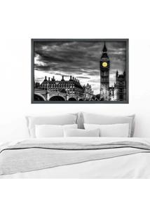 Quadro Love Decor Com Moldura London Grafitti Metalizado Médio