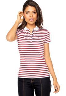Camisa Polo Tommy Hilfiger Melinda Stp Ss Branca/Vermelha/Preta