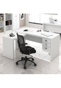 Mesa Para Escritório 3 Gavetas Me4106 Branco - Tecno Mobili