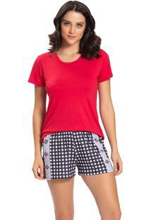 Pijama Recco Viscose Malha Touch Vermelho - Vermelho - Feminino - Dafiti