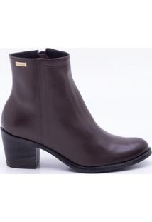 Ankle Boot Couro Marrom