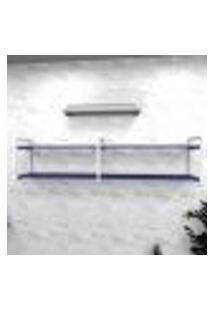 Estante Industrial Escritório Aço Cor Branco 180X30X40Cm (C)X(L)X(A) Cor Mdf Azul Modelo Ind40Azes