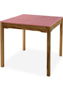 Mesa Para Sala De Jantar Maciça Taeda Com Tampo Colorido Olga Verniz Capuccino E Rosa Coral 80X80X75Cm