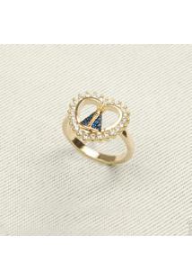 Anel Coração Com Nossa Senhora Cravejada Com Micro Zircônias Azuis