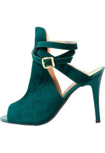 Ankle Boot Suede Verde Militar Salto Fino - Kanui