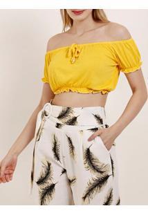 Blusa Cropped Ciganinha Feminina Amarelo