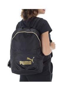 Mochila Puma Core Seasonal - 14 Litros - Preto/Ouro