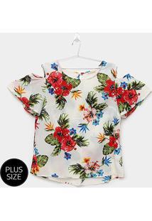 Blusa Jolie Floral Abertura Obro Plus Size Feminina - Feminino-Branco