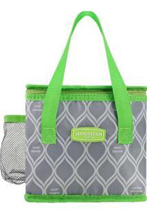 Bolsa Térmica Geométrica- Cinza & Verde Limão- 17,5Xjacki Design