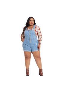 Jardineira Jeans Plus Size Feminina Botões Frontal Curta Azul Claro