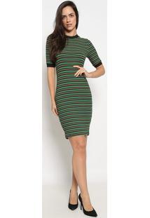 Vestido Canelado Listrado- Verde & Laranja- Colccicolcci