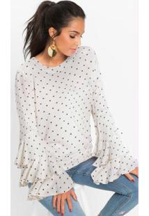 Blusa Com Babados Estampada Off White
