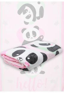 Cobertor Solteiro Lepper Panda Rosa 1,50 X 2,20