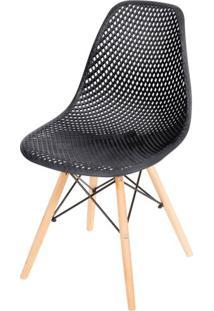 Cadeira Eames Furadinha Cor Preta Com Base Madeira - 50004 Sun House