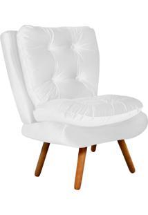 Poltrona Decorativa Tolucci Suede Branco Com Pés Palito - D'Rossi