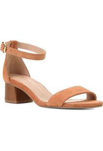 Sandália Couro Shoestock Básica Salto Baixo Feminina - Feminino-Caramelo
