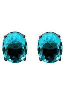 Brinco Ródio Negro Ania Store Oval Azul