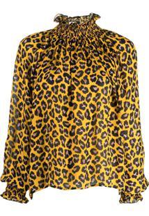 Msgm Blusa Com Estampa Animal Print - Amarelo