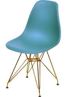 Cadeira Eames Polipropileno Azul Petroleo Base Cobre - 45979 - Sun House