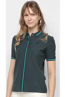 Camisa Polo Lacoste Listra Bicolor Manga Curta Feminina - Feminino-Chumbo