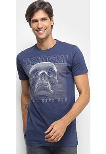 Camiseta Bulldog Fish Foil Bulldog Caveira Masculina - Masculino-Marinho