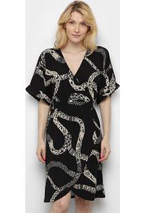 Vestido Cantão Curto Malha Crepe Est Medusa - Feminino-Preto