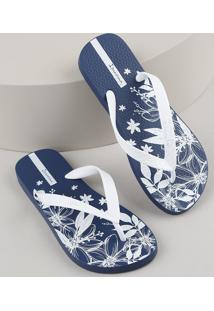 Chinelo Feminino Ipanema Com Estampa Floral Azul Marinho