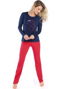 Pijama Feminino De Inverno Red Cat