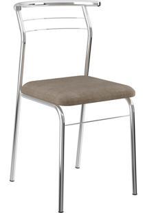 Kit 2 Cadeiras 1708 Tecido Camurça Móveis Carraro Marrom
