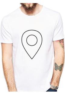Camiseta Coolest Pin Localização Masculina - Masculino-Branco