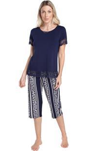 Pijama Capri Feminino Onça Stripe Com Renda Multicolorido - Tricae