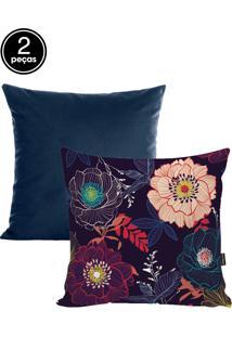 Kit Capas De Almofadas 2 Pçs Veludo 42X42Cm Flowers Azul Marnho Stm Home