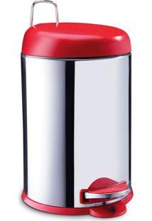 Lixeira Brinox Com Pedal Vermelha