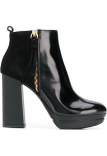 Hogan Ankle Boot Com Plataforma - Preto