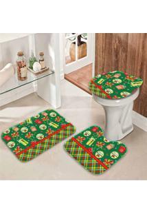 Jogo Tapetes Para Banheiro Retro Presentes Verde