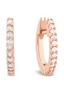 Argola Ouro Rosé E Diamantes 10 Mm