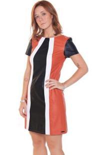 Vestido Studio 21 Fashion Tricolor Couro - Feminino-Marrom