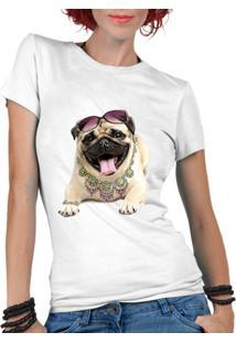 Camiseta Criativa Urbana Pet Lover Pug - Feminino-Branco