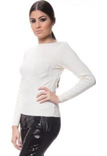 Blusa Logan Tricot Textura Modal Feminina - Feminino-Off White