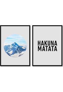 Quadro 65X90Cm Hakuna Matata Frases Motivacionais Moldura Preta Sem Vidro Decorativo Rei Leão