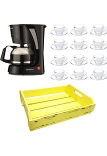 Kit 1 Cafeteira Mondial 220V, 12 Xícaras 240 Ml Com Pires E 1 Bandeja Amarela Em Mdf