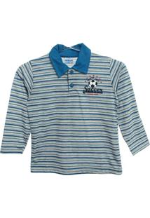 Polo Em Meia Malha Fio Tinto - Masculino-Azul