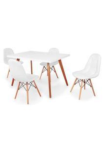 Conjunto Mesa De Jantar Gih 120X80Cm Branca Com 4 Cadeiras Botonê - Branco