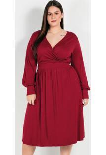 Vestido Plus Size Vermelhocom Mangas Longas